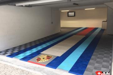 Garagenboden mit zentraler Grube
