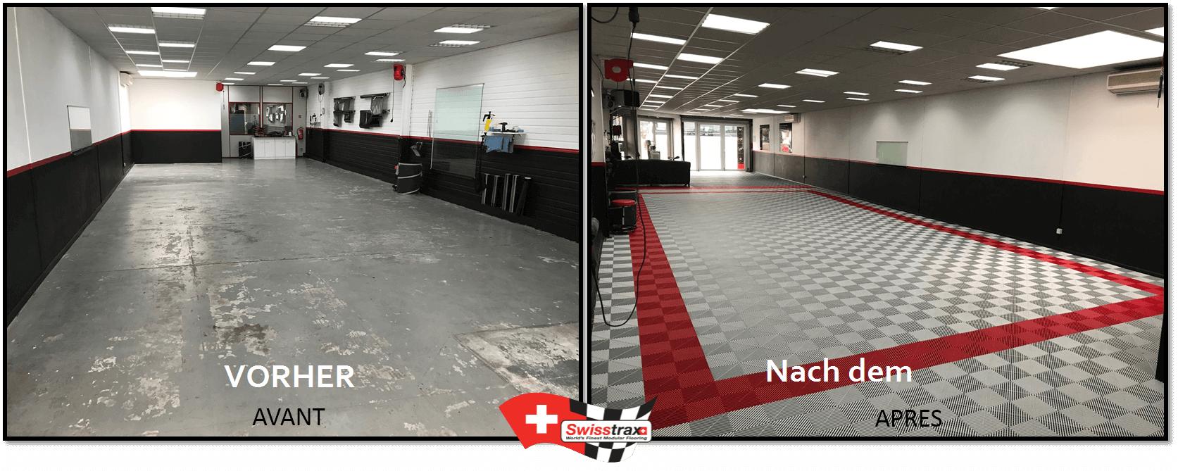 Swisstrax-Bodenplatten für Industriehallen und Werkstätten