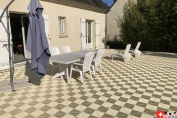 Elfenbeinfarbene Bodenplatten